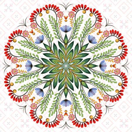 Vector round  floral design element. Style of Petrykivka - traditional Ukrainian decorative painting. Ornamental folk art. Beautiful flowers. Imitation of brush strokes  イラスト・ベクター素材