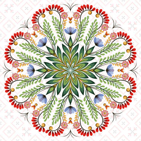 Vector round  floral design element. Style of Petrykivka - traditional Ukrainian decorative painting. Ornamental folk art. Beautiful flowers. Imitation of brush strokes Ilustração