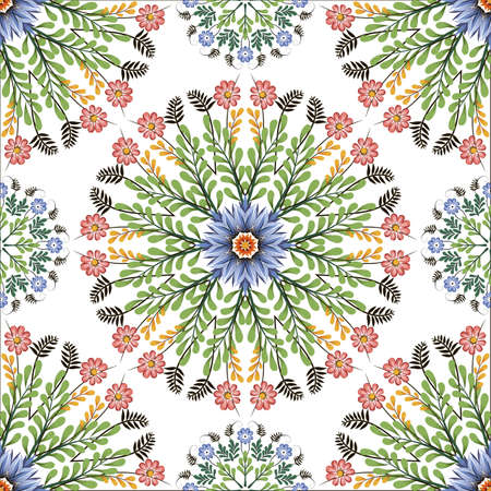Seamless vector background with round elements. Style of Petrykivka - traditional Ukrainian decorative painting. Ornamental folk art. Perfect for wrapping paper, textile, interior or web design.