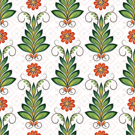 Seamless vector colorful ethnic pattern. Style of Petrykivka - traditional Ukrainian decorative painting. Ornamental folk art. Beautiful flowers. Imitation of brush strokes Ilustração