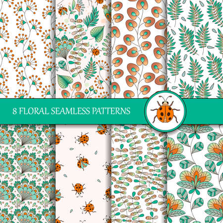 Set of 8 seamless colorful floral patterns. Vector illustration with flowers and ladybugs. Perfect for greetings, invitations, manufacture wrapping paper, textile, web design.