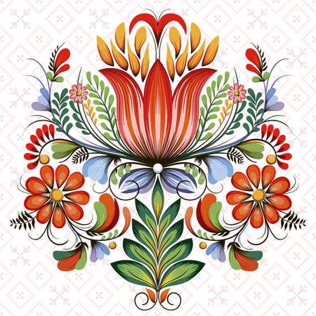 Vector symmetric floral design element. Style of Petrykivka - traditional Ukrainian decorative painting. Ornamental folk art. Beautiful flowers. Imitation of brush strokes