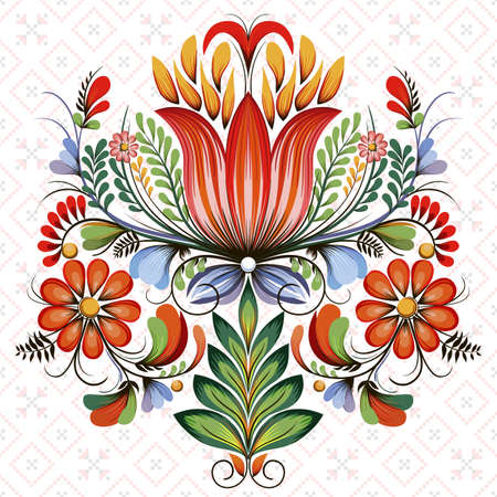Vector symmetric floral design element. Style of Petrykivka - traditional Ukrainian decorative painting. Ornamental folk art. Beautiful flowers. Imitation of brush strokes