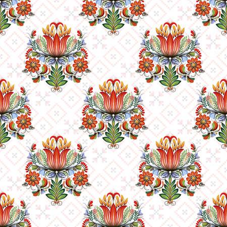 Seamless vector colorful ethnic pattern. Style of Petrykivka - traditional Ukrainian decorative painting. Ornamental folk art. Beautiful flowers. Imitation of brush strokes  イラスト・ベクター素材