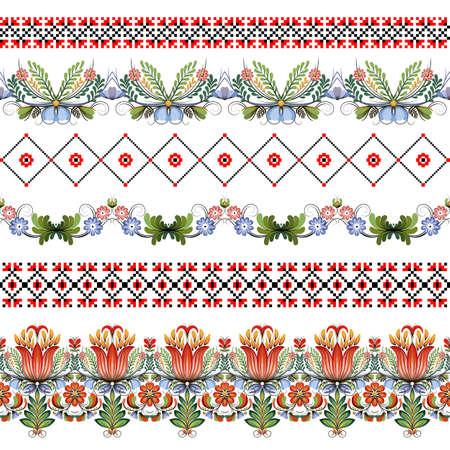 Vector conjunto de seis fronteras sin costura. Estilo de Petrykivka y el bordado de punto de color rojo y negro. arte popular ornamental tradicional de Ucrania.