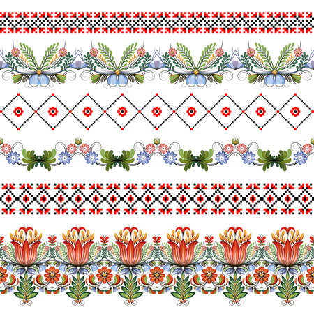Vector set of six seamless borders. Style of Petrykivka and embroidery stitch in red and black. Traditional Ukrainian ornamental folk art. Ilustração