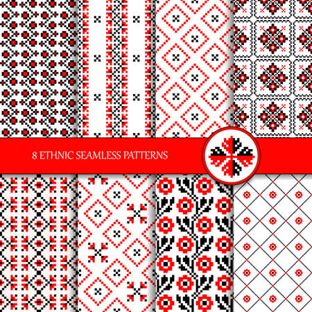 Set of 8 seamless vector colorful Ukrainian ethnic patterns for embroidery stitch in red and black. Traditional ornamental geometric patterns for your design. Vyshyvanka.