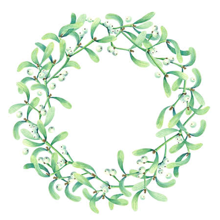 Round frame with watercolor wreath of mistletoe.  Place for your text. Perfect for greetings, invitations, announcement, web and wedding design. Raster.