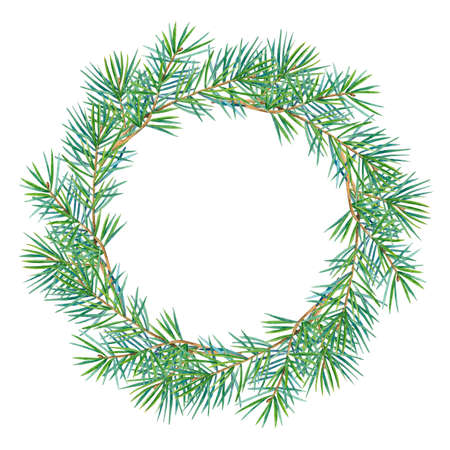 Round frame with watercolor wreath of fir branches.  Place for your text. Perfect for greetings, invitations, announcement, web and wedding design. Raster.