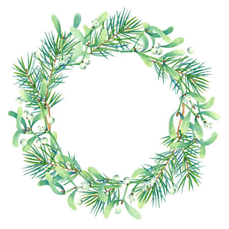 Round frame with watercolor wreath of mistletoe and fir branches.  Place for your text. Perfect for greetings, invitations, announcement, web and wedding design. Raster. Фото со стока