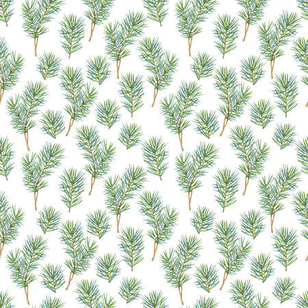 Seamless pattern with watercolor fir branches. Perfect for greetings, invitations, manufacture wrapping paper, textile, wedding New Year and web design. Raster illustration.