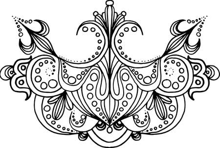 Hand drawn symmetry ornament with floral elements