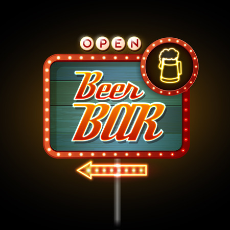 wood sign: Neon Sign. Beer bar