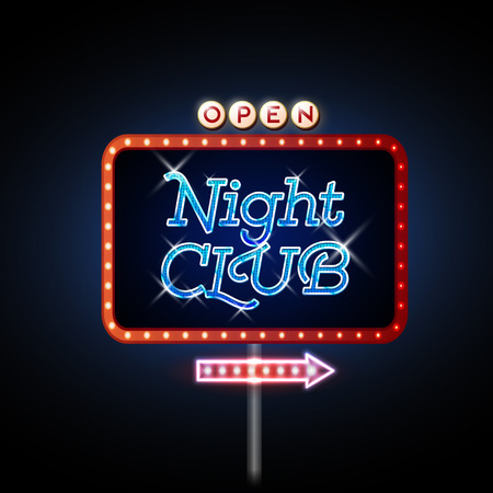 Neon Sign. Night club open