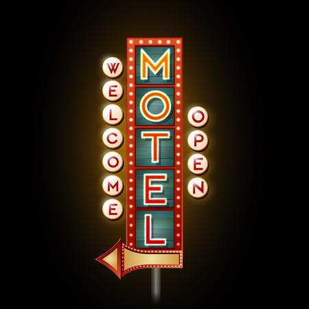 ネオンサイン。オープンのモーテル