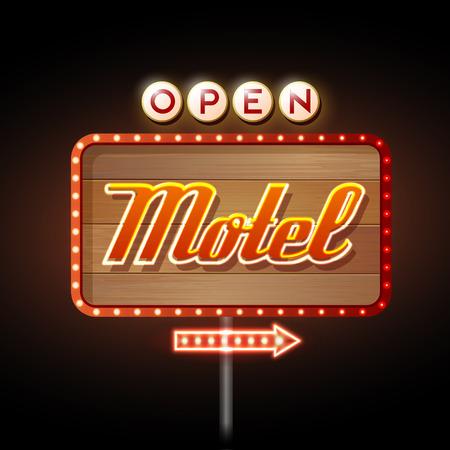 motel: Neon Sign. Motel open