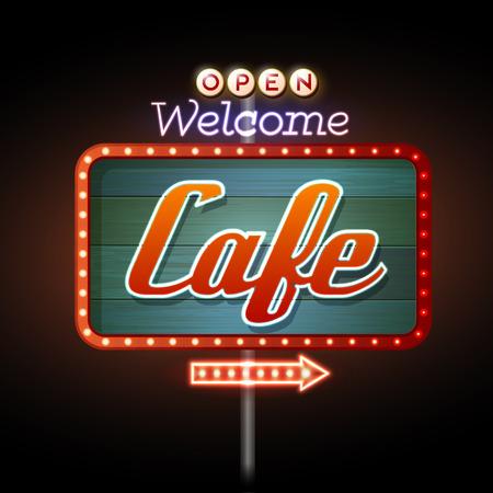 Neon Sign. Cafe bar