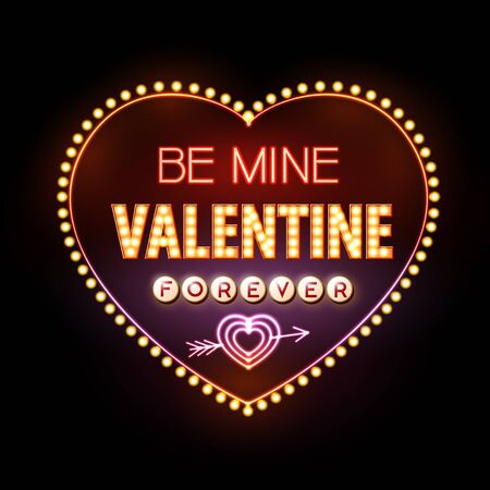 heart sign: Neon sign. Valentine`s day typography background. Be mine