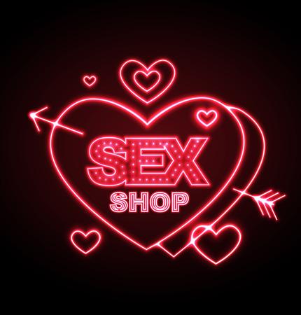 Sex shop neon sign Vectores
