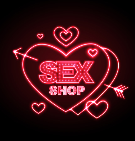 Sex shop neon sign Ilustrace