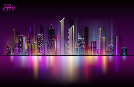 Neon città di notte Archivio Fotografico - 72226176