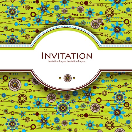 greeen: Decorative floral background. Invitation card with flowers