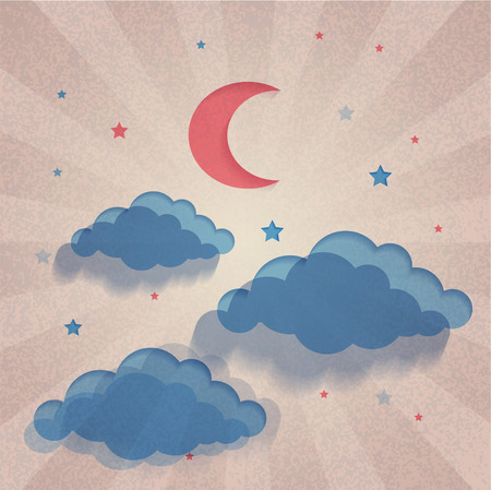 Vintage night sky background. Paper design. Moon, stars and clouds