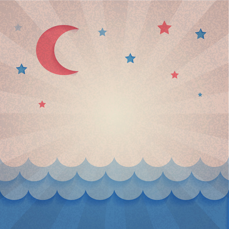 Moon, stars and sea on retro background. Paper design