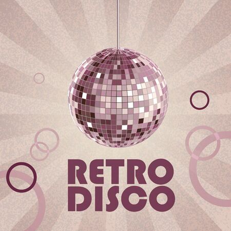 Disco retro background with disco ball