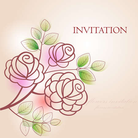 Invitation with roses. Flowers