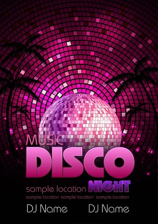Disco poster with disco ball. Disco background