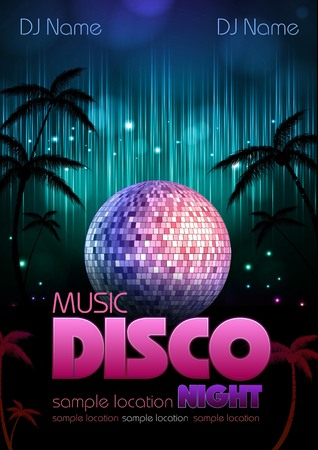 Disco poster with disco ball. Disco background