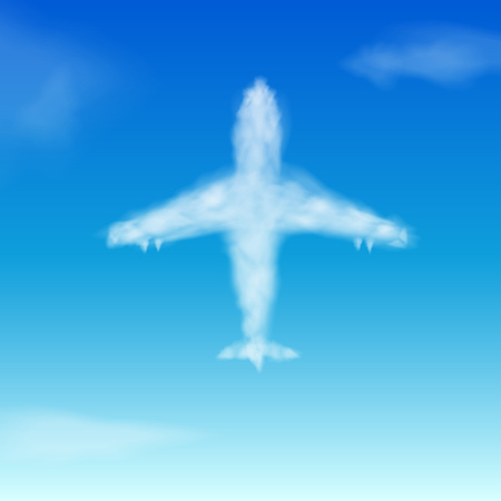 Sky background with airplane