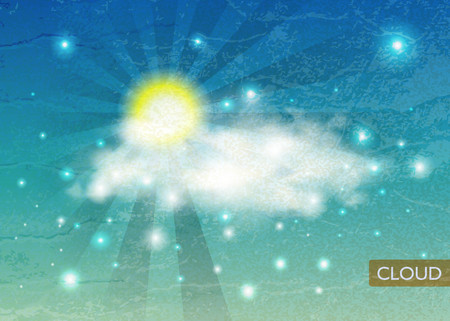 Vintage sky background with clouds and sun. Weather