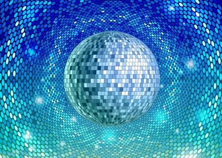 Disco party background with disco ball Illustration