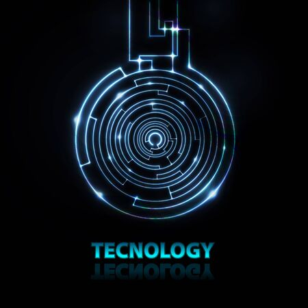 tecnology: Neon tecnology abstract background