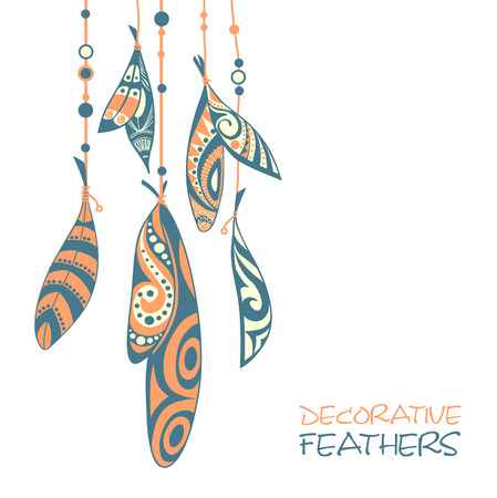 animal silhouette: Decorative feathers Illustration