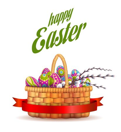 Happy Easter background. Basket with eggs