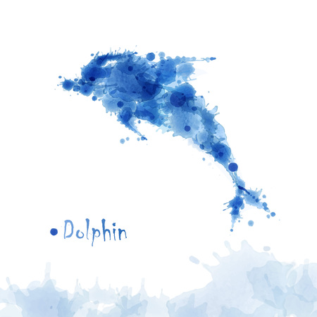 Watercolor dolphin background