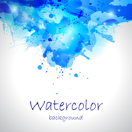 Watercolor blue blot background Illustration