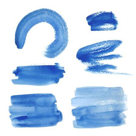 Bright blue watercolor brush strokes