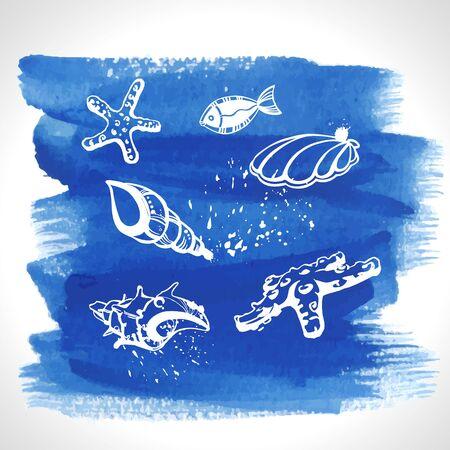 Set of ocean decoration on watercolour background Illustration