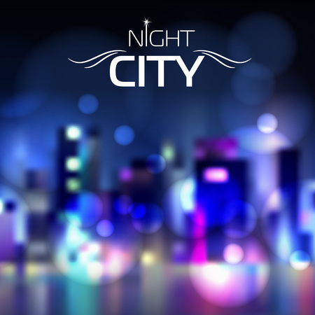 Abstract blur night city background Illustration