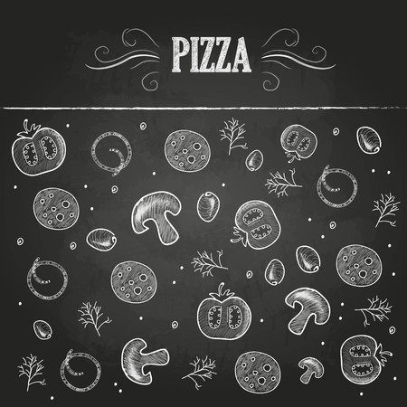 stuffing: Chalk drawings. Pizza