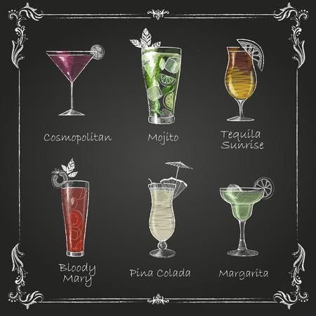 Kreidezeichnungen. Cocktailmenü Standard-Bild - 77787511