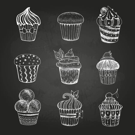stuffing: Chalk drawing. Set of cakes Illustration