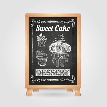 stuffing: Chalk drawings. Retro typography. Cake