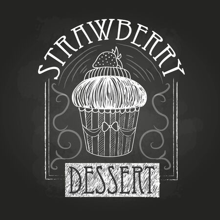 stuffing: Sweet cake. Decorative sketch. Chalk drawing