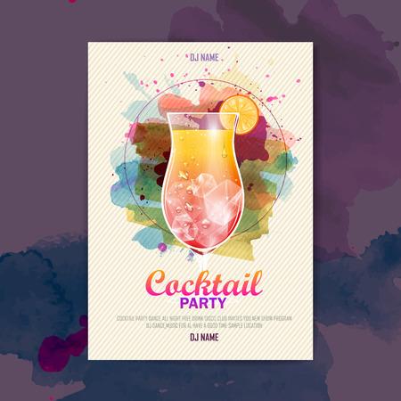 カクテルの水彩絵の具ディスコ ポスター  イラスト・ベクター素材
