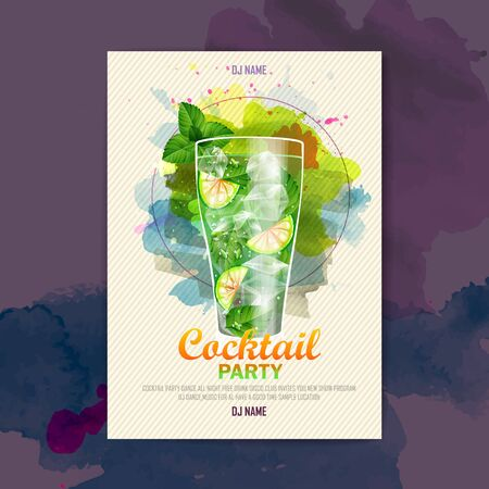 Cocktail watercolor paint disco poster